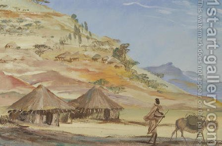 Etude des villages Ethiopiens, Abyssinie by Aleksandr Evgen'evich Iakovlev - Reproduction Oil Painting