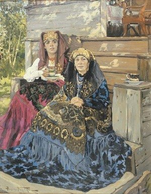 Reproduction oil paintings - Aleksandr Vladimirovich Makovsky - The tea drinkers