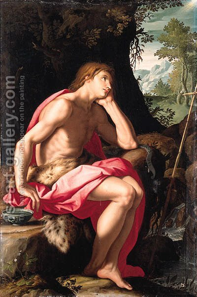 Saint John the Baptist in the wilderness by Alessandro Allori - Reproduction Oil Painting