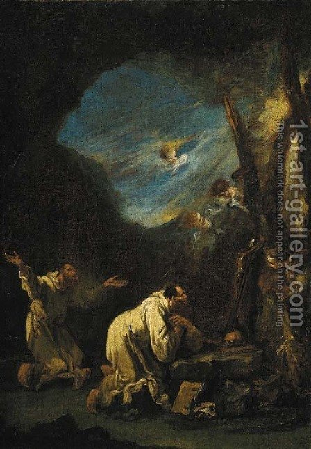 A stormy landscape with Carthusian monks praying at a shrine, angels in the sky beyond by Alessandro Magnasco - Reproduction Oil Painting