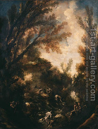 Wooded landscapes with washerwomen and anglers by Alessandro Magnasco - Reproduction Oil Painting