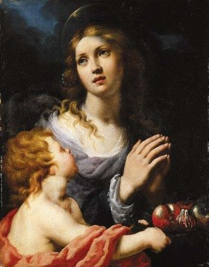 Alessandro Rosi reproductions - A Female Saint with a putto