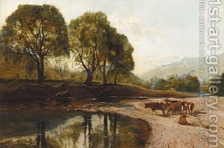 On Loch Falloch by Alexander Jnr. Fraser - Reproduction Oil Painting