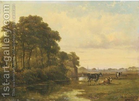 Cattle by a river, a town beyond by Alexander Hieronymus Jun Bakhuyzen - Reproduction Oil Painting
