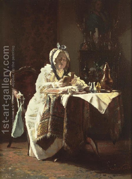 A moment of contemplation by Alexander Hugo Bakker Korff - Reproduction Oil Painting