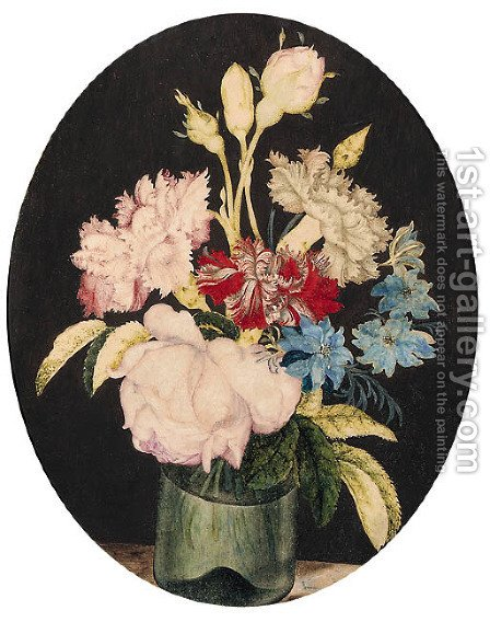 Still-life of Rosa centifolia Cabbage Rose, Dianthus caryophyllus Carnation and Nigella var by Alexander Marshal - Reproduction Oil Painting
