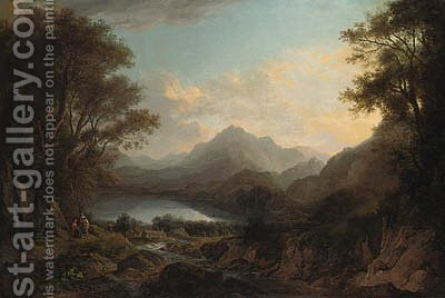 View of Loch Lomond, with figures in the foreground by Alexander Nasmyth - Reproduction Oil Painting