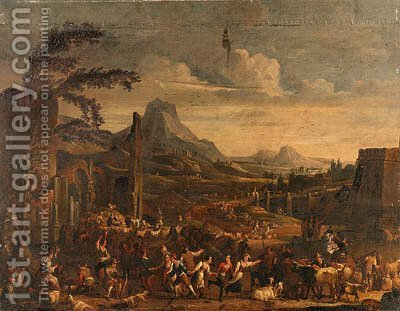 A Market scene with Peasants dancing before ruined Buildings in a mountainous Landscape by Alexander van Bredael - Reproduction Oil Painting