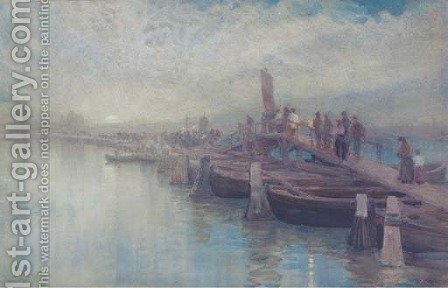 A moonlight procession over a bridge, Venice by Alexander Wallace Rimington - Reproduction Oil Painting