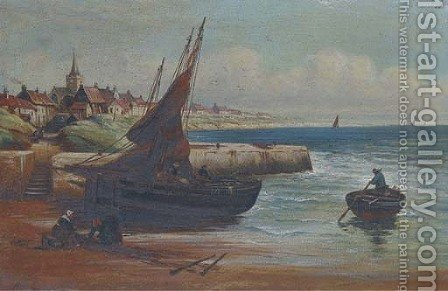 Mending the nets on the Scottish coast by Alexander Young - Reproduction Oil Painting
