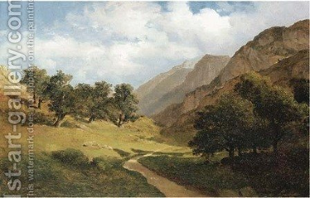 'Paysage au Servas', Switzerland by Alexandre Calame - Reproduction Oil Painting