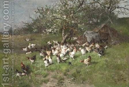Printemps, poules sous le pommier en fleurs by Alexandre Defaux - Reproduction Oil Painting