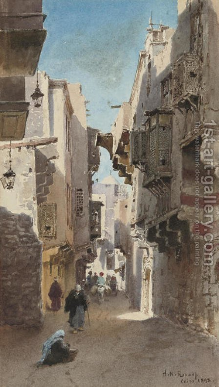 A street scene in Cairo by Alexandre Nicolaievitch Roussoff - Reproduction Oil Painting