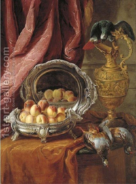 Peaches in a silver-footed bowl, a silver platter, an African Grey parrot perched on a vermeil ewer and game birds on a partly-draped tabletop by Alexandre-Francois Desportes - Reproduction Oil Painting