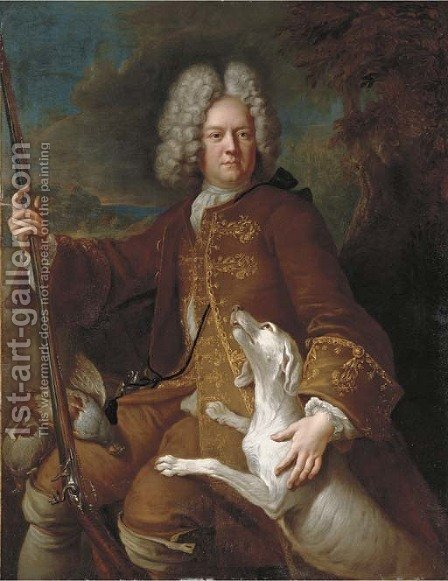 Portrait of a huntsman, seated, three-quarter-length, holding a rifle, in a landscape with his dog by Alexandre-Francois Desportes - Reproduction Oil Painting