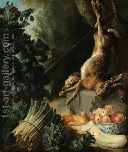 A hunting still life with a dead hare and game birds on a stone plinth with asparagus, artichokes, a cucumber and a pear by Alexandre-Francois Desportes - Reproduction Oil Painting