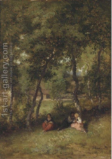A rest in the shade by Alexandre Marie Longuet - Reproduction Oil Painting