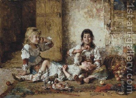Happy Moments by Alexei Alexeivich Harlamoff - Reproduction Oil Painting