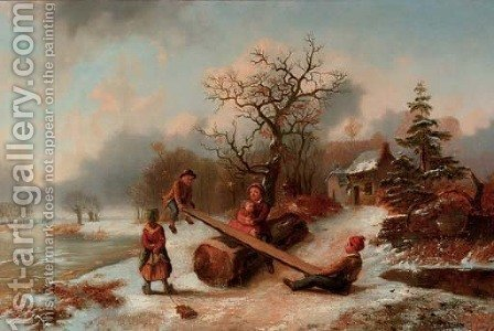 Playing in the snow by Alexis de Leeuw - Reproduction Oil Painting