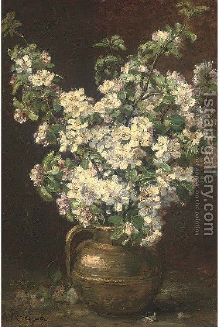 Christmas roses in a brass jug by Alexis Kreyder - Reproduction Oil Painting
