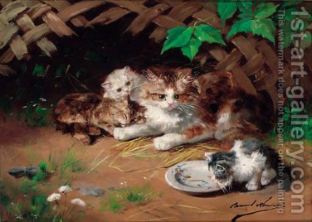 A kitten drinking milk by Alphonse Marie de Neuville - Reproduction Oil Painting