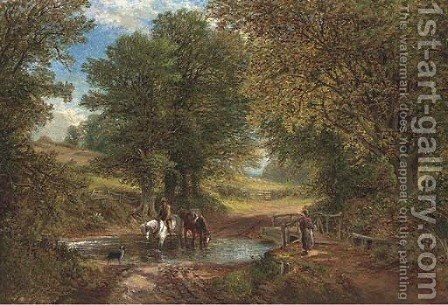 A chance meeting at the ford by Alfred Glendening - Reproduction Oil Painting
