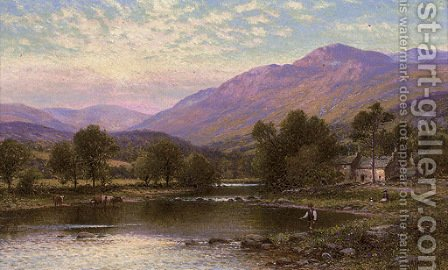 An angler on the Derwent, Cumberland by Alfred Glendening - Reproduction Oil Painting