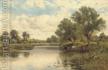 Cattle watering by Alfred Glendening - Reproduction Oil Painting