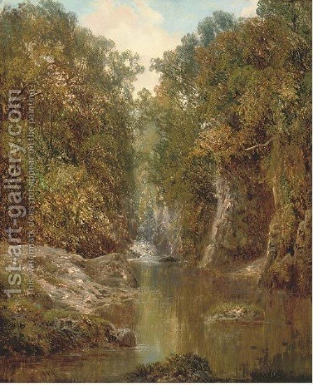 A wooded river landscape by Alfred Augustus I Glendenning - Reproduction Oil Painting