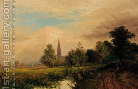 Salisbury Cathedral,  South View by Alfred Dawson - Reproduction Oil Painting