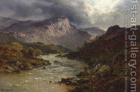 A Salmon-Trout Stream, Cader Idris, North Wales by Alfred de Breanski - Reproduction Oil Painting