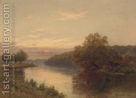 Dusk, Hurley on Thames by Alfred de Breanski - Reproduction Oil Painting