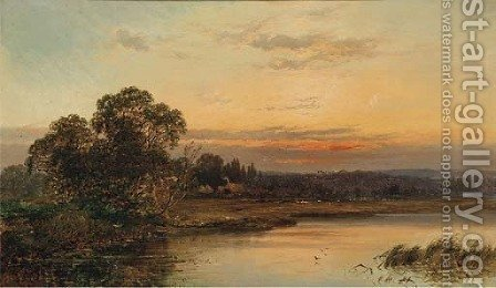An autumnal sunset on the Thames at Hurley by Alfred de Breanski - Reproduction Oil Painting