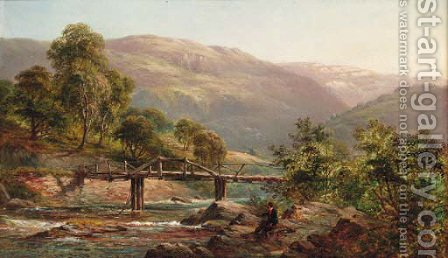 An angler by a Highland river by Alfred de Breanski - Reproduction Oil Painting