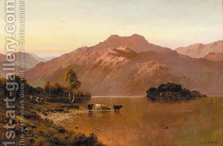 Sunset, Loch Katrine by Alfred de Breanski - Reproduction Oil Painting