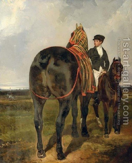 A horse held by a mounted groom, in a landscape by Alfred Dedreux - Reproduction Oil Painting