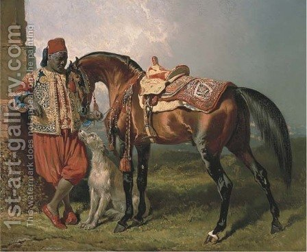 An African groom holding a stallion, with a dog by Alfred Dedreux - Reproduction Oil Painting