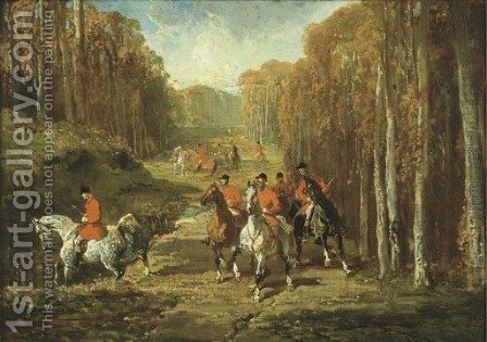Hunting in the Forest by Alfred Dedreux - Reproduction Oil Painting