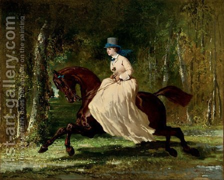 Une Amazone en Foret by Alfred Dedreux - Reproduction Oil Painting