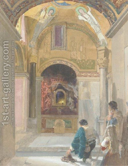 Chapel interior with figures by Alfred Downing Fripp - Reproduction Oil Painting