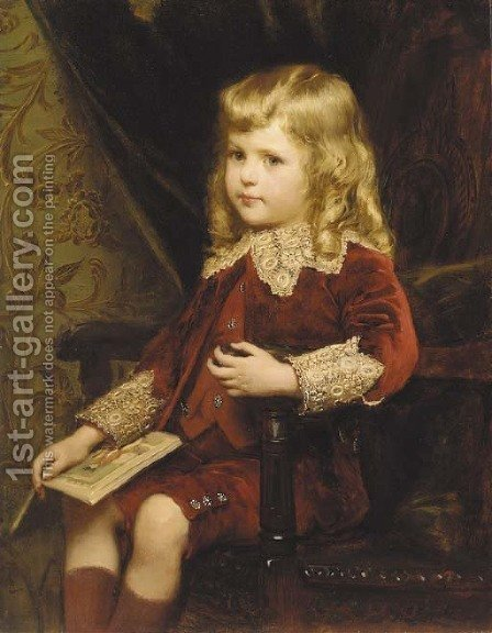 Portrait of a young boy by Alfred Edward Emslie - Reproduction Oil Painting
