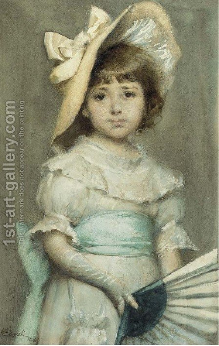Portrait of a young girl with a fan by Alfred Edward Emslie - Reproduction Oil Painting