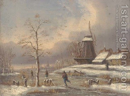 Skaters on a frozen waterway in a Dutch winter landscape by Alfred Godchaux - Reproduction Oil Painting