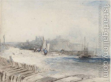 Fisherfolk on the shore below Dover Castle by Alfred Gomersal Vickers - Reproduction Oil Painting