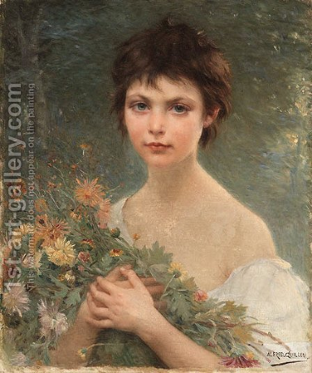 A young girl with wild flowers by Alfred Guillou - Reproduction Oil Painting