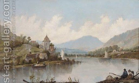 Figures on the bank of the Rhine by Alfred Vickers - Reproduction Oil Painting