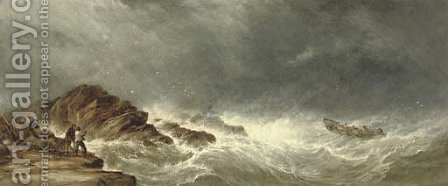 A lifeboat heading out to a ship in distress by Alfred Herbert - Reproduction Oil Painting