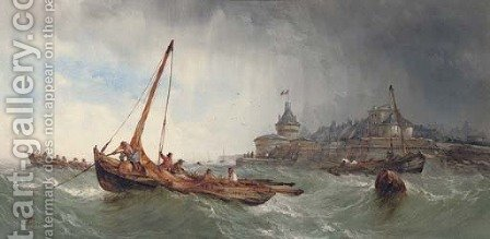 Fishing vessels in a squall off Saint Malo, France by Alfred Herbert - Reproduction Oil Painting