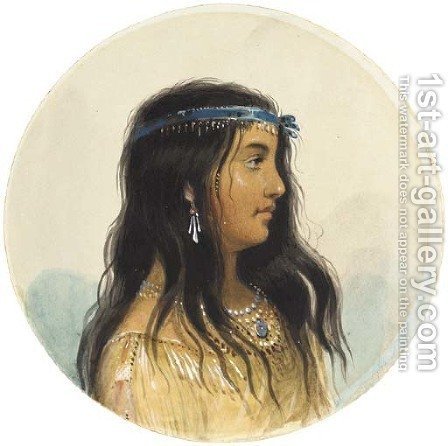 A Young Woman of the Flat Head Tribe by Alfred Jacob Miller - Reproduction Oil Painting