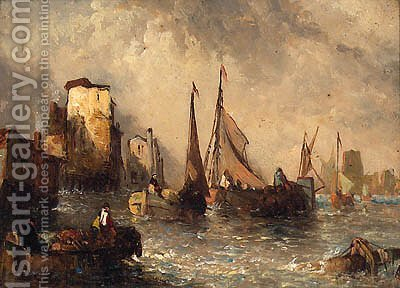 Fishing Vessels Off Dortrecht by Alfred Montague - Reproduction Oil Painting